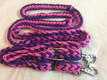 western nylon pink/blue braided & knotted roping reins