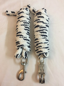 western nylon braided and knotted black/white roping reins