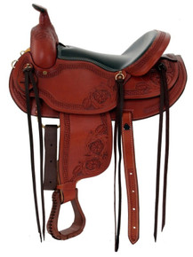 "western natural roughout roper ranch 17"" classic saddle"