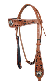 western medium oil browband style carved headstall