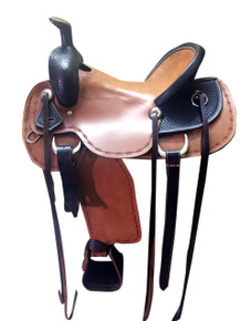 western natural roper ranch hand tooled saddle