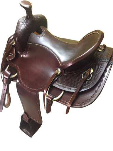 western brown roper ranch hand tooled saddle