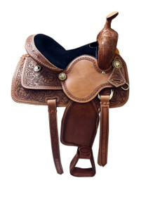 barrel racer hand tooled & carved saddle
