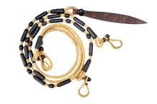 western natural black leather split rommel reins