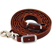 Western Brown Color Leather Braided Roping Reins By Aledo Saddle