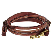 Western Dark Oil Leather Roping Reins With Snap Trigger By Aledo Saddle