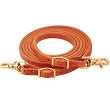 Western Tan Leather Roping Reins With Snap Trigger By Aledo Saddle