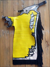 Western Yellow Barrel Rodeo Leather Softy Chaps With Matching Fringes By Aledo Saddlery