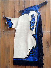 Western White & Blue Barrel Rodeo Leather Softy Chaps With Matching Fringes By Aledo Saddlery