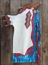 Western Blue & White Barrel Rodeo Leather Softy Chaps With Matching Fringes By Aledo Saddlery