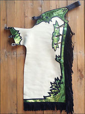 Western Green & White Barrel Rodeo Leather Softy Chaps With Matching Fringes By Aledo Saddlery