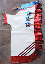 Western Red & White Barrel Rodeo Leather Softy Chaps With Matching Fringes By Aledo Saddlery