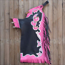 Western Black & Pink Barrel Rodeo Leather Softy Chaps With Matching Fringes By Aledo Saddlery