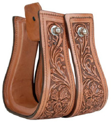 Western Natural Leather Hand Carved 2.5 Wide Stirrups By Aledo Saddlery