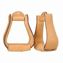 Western Natural Plain Leather Hand Carved 2.5 Wide Stirrups By Aledo Saddlery