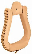 Western Natural Leather Wrapped  1.5 Wide Stirrups By Aledo Saddlery