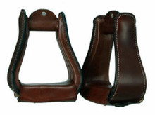 Western Dark Brown Leather Wrapped  3.0 Base Wide Stirrups By Aledo Saddlery