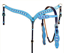 Western Set Of Shaped Headstall and Breast Collar with Beaded Inlay By Aledo Saddlery