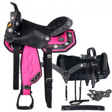 Western Black & Pink Set of Synthetic Saddle with Set of 7 Accesories By Aledo Saddlery