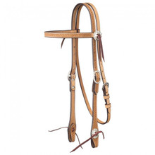 Western Natural Leather Hand Basket Tooled Browband Headstall By Aledo Saddlery