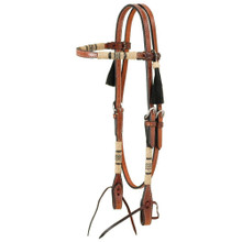 Western Natural Leather Rawhide Braided Headstall with Black Tassel  By Aledo Saddlery