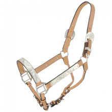 Western Natural Leather Silver Engraved Show Halter By Aledo Saddlery