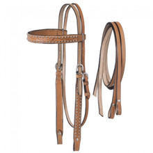 Western Natural Leather Set of Carved Headstall and Leather Reins By Aledo Saddlery