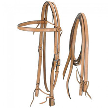 Western Natural Leather Set of  Headstall and Leather Reins By Aledo Saddlery