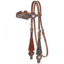 Western Natural Leather Set of  Hand Carved Headstall and Breast Collar By Aledo Saddlery