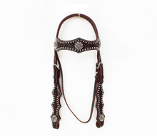 Western Brown Leather Hand Carved Silver Spot Studded Headstall By Aledo Saddlery