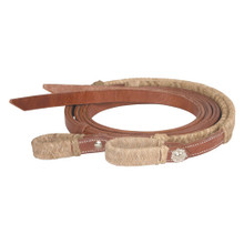 Western Light Brown Leather  Rawhide Braided Leather Reins with Water Loop By Aledo Saddlery