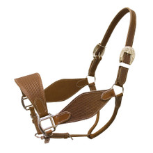 Western Brown Hand Basket Tooled  Halter with Lead Chain By Aledo Saddlery
