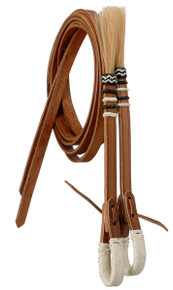 Western Natural Leather Split Reins with Horse Tassel By Aledo Saddlery