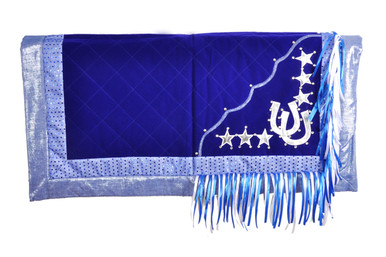 western blue/silver show barrel rodeo saddle pad