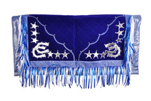 blue/silver show barrel rodeo saddle pad