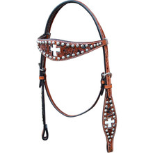 Western Dark Brown HAnd Carved Headatall with Silver SPots and Cross Inlay By Aledo Saddlery
