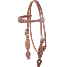 Western Light Brown Leather Browband Style Headatall with Spots By Aledo Saddlery