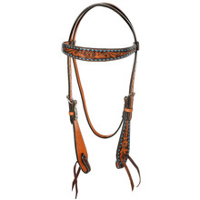Western Natural Leather Hand Carved Browband Style  By Aledo Saddlery