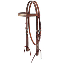 Western Dark Brown Leather  Browband Style Headstall With Silver Dots and RAwhide Braiding By Aledo Saddlery