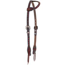 Western Dark Oil Leather Buckstiched One Ear Style Headstall By Aledo Saddlery
