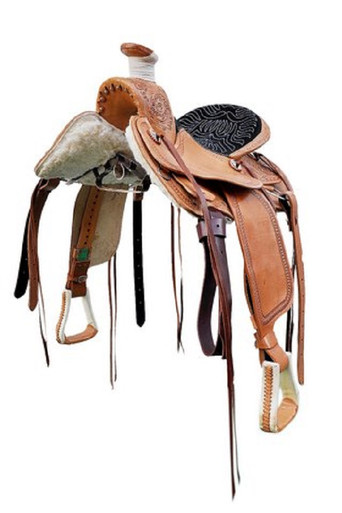 "western wade cowboy roper ranch hand carved 17"" saddle"