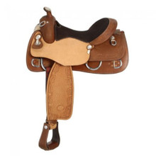 Western Natural & Brown Reining/Pleasure Trail Hand Tooled & Carved Saddle by Aledo Saddlery