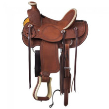 Western Brown Leather Roper Wade Hand Tooled Saddle by Aledo Saddlery
