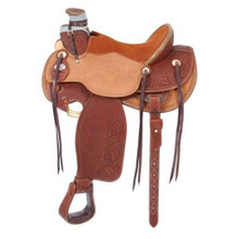 Western Natural & Tan Leather Roper Wade Hand Basket Tooled Saddle by Aledo Saddlery