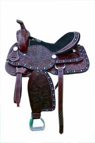 Western American Star Brown Leather Barrel Racer Hand  Tooled Saddle by Aledo Saddlery