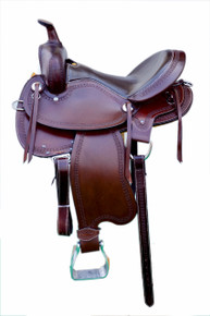 Western Brown Leather Hand  Tooled Endurance Saddle by Aledo Saddlery