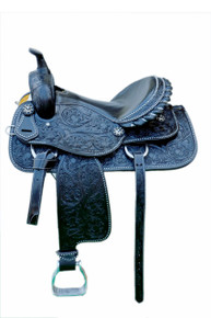 Western Black Leather Hand Carved Barrel Racer Saddle With Black Gator Seat by Aledo Saddlery
