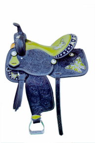 Western Black Leather ButterFly Embroidred Hand Carved Barrel Racer Saddle With Lime Green Gator Seat by Aledo Saddlery