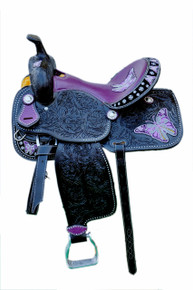 Western Black Leather Butter Fly Embroidered Hand Carved Barrel Racer Saddle With Purple Gator Seat by Aledo Saddlery