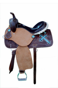 Western Brown Rough Out Hand Carved Barrel Racer Saddle with Turquoise Embroidered Cross By Aledo Saddlery